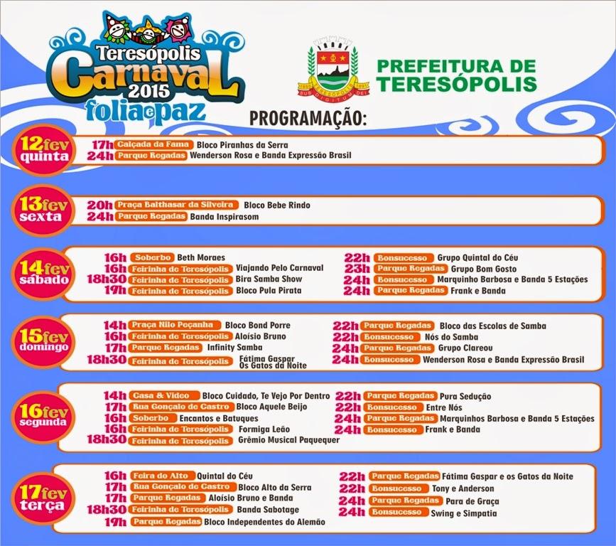 Programação Completa do Carnaval 2015 em Teresópolis - TERÊ TOTAL