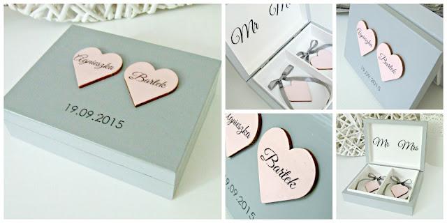 """urocze pudełko na obrączki szaro-różowe """"Romantic Cold"""" by Eco Manufaktura"""