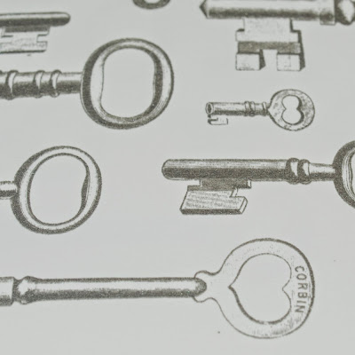 Victorian Keys A4 Silver Screen Print by We laugh indoors close up