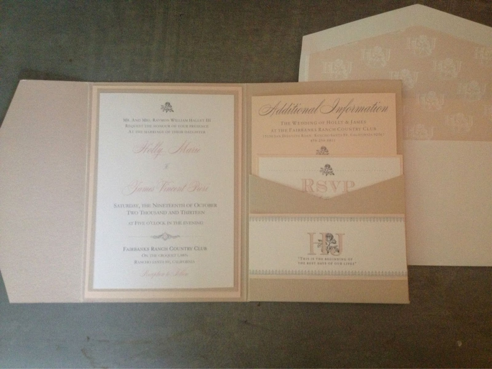 Wonderful Blush And Champagne Wedding Invitations