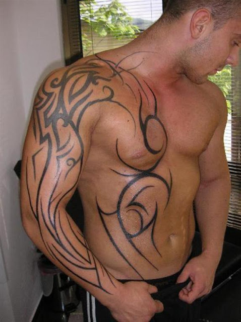 Shoulder Chest Tribal Tattoo For Men