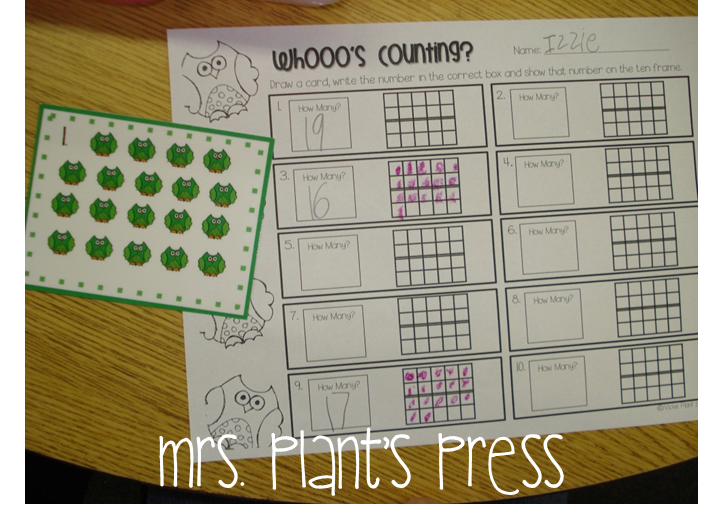counting objects and representing the number on a ten frame