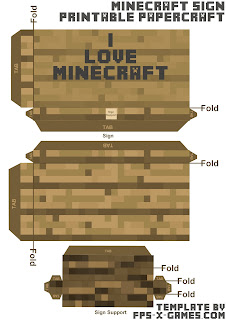 Minecraft papercraft I love Minecraft sign template cut out