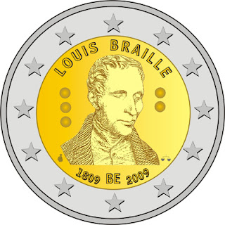 Belgium: The coin features a portrait of Louis Braille, the inventor of braille, a world-wide system used by blind and visually impaired people for reading and writing.