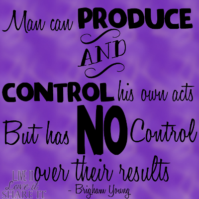 Man can produce and control his own acts, but he has no control over their results. - Brigham Young