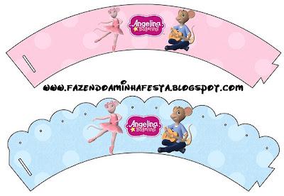 Angelina Ballerina: wrappers para cupcakes para imprimir gratis.
