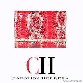 Queen Letizia Style Carolina Herrera Animal Print Clutch Bag in Red