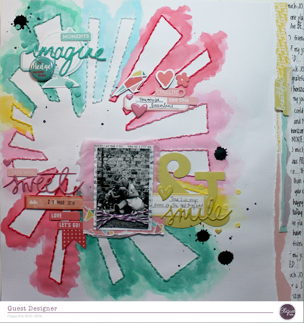 """smile"" layout by Bernii Miller as a guest designer for Clique Kits - Alegria"