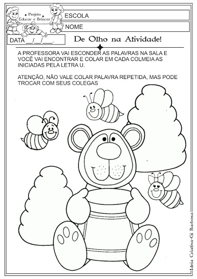 Atividade Letra U Educação Infantil
