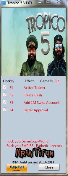 Tropico 5 V1.03 Trainer +3 MrAntiFun