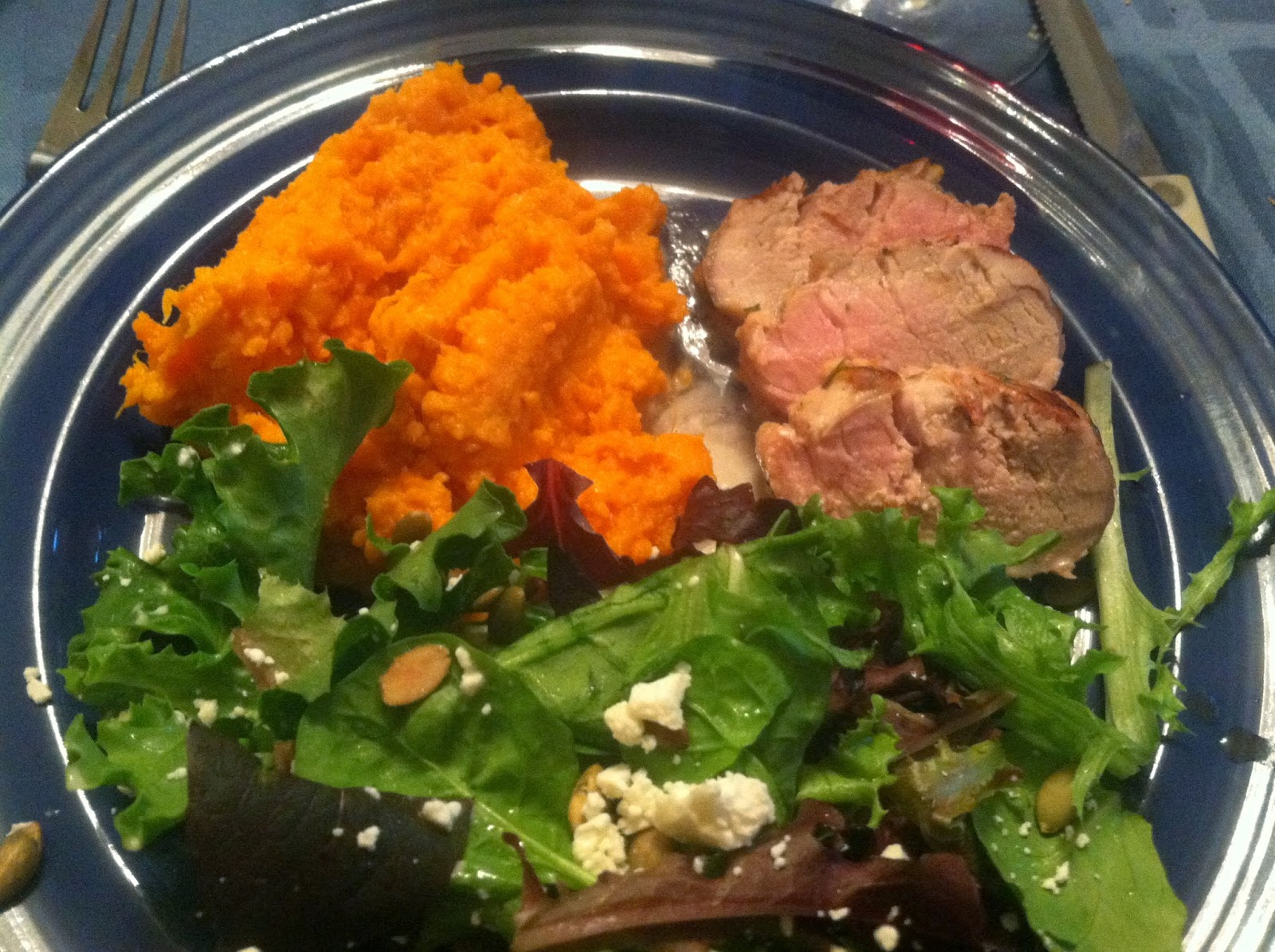 Cilantro Lime Grilled Pork Tenderloin with Sweet Potatoes and Salad. Cooking Chat recipe.