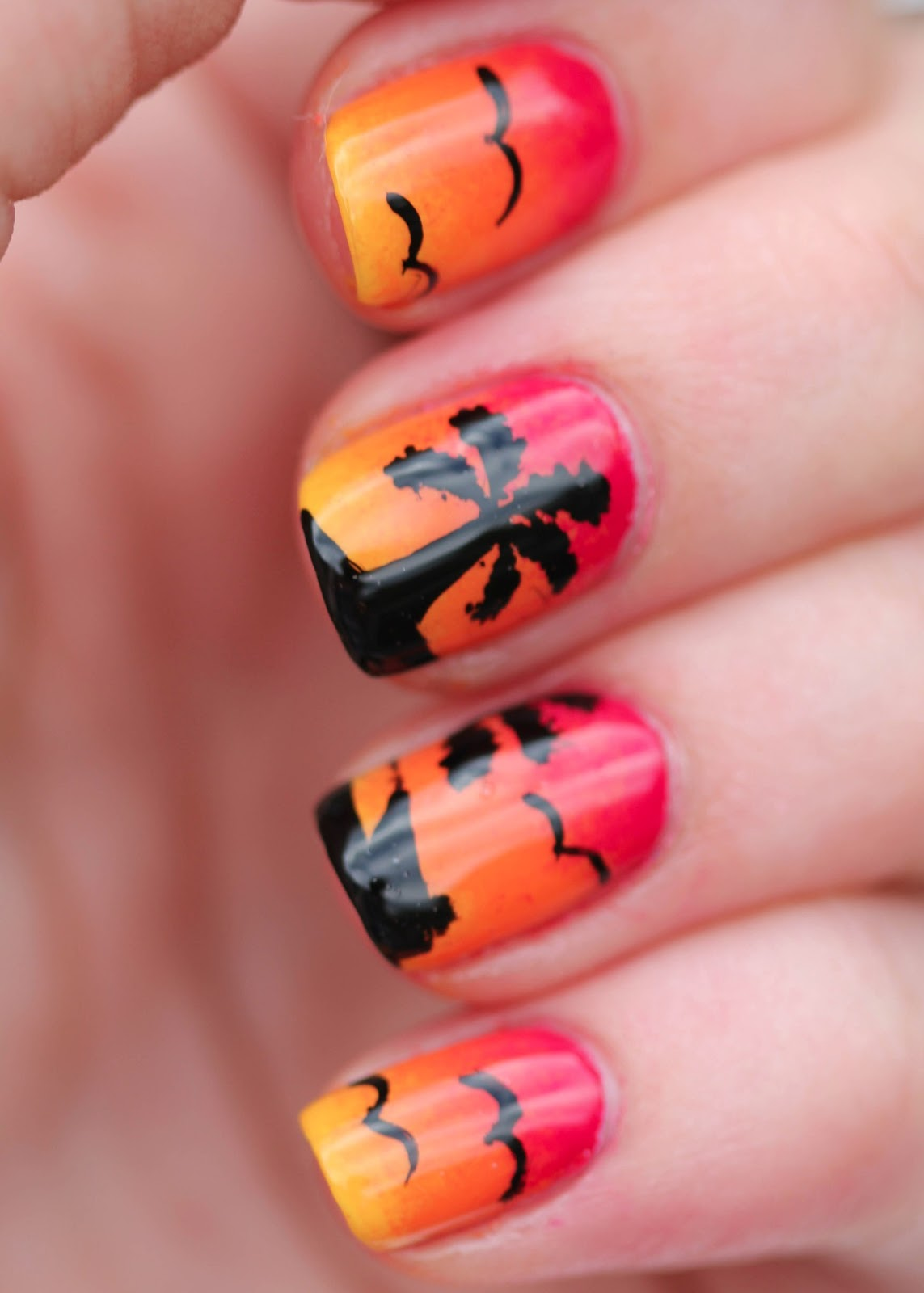 sunset nail art with palm trees birds and boat - Sunset Nail Design. Sunset Ombre Dolphin Nail Art. Nail Art