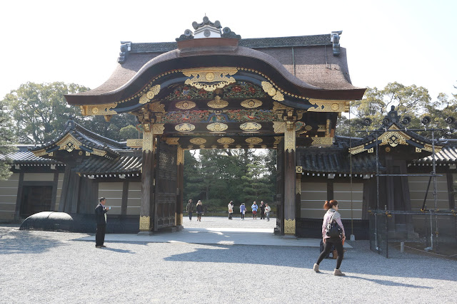 Another main entrance gate to Honmaru Palace (main circle of defence with a five story castle) and Ninomaru Palace at Nijo Castle in Kyoto, Japan