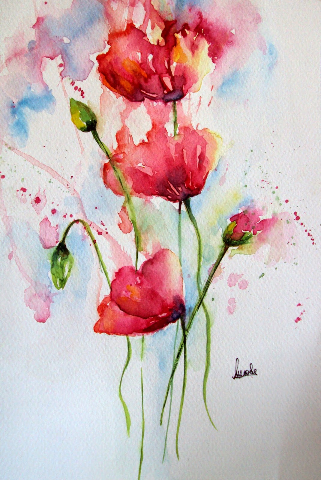 Poppy, poppies, flowers, floral, watercolor, watercolour, painting, garden, nature, handmade, abstract, art, splash, colorful
