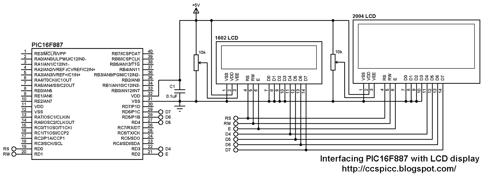 interfacing pic16f887 with lcd display