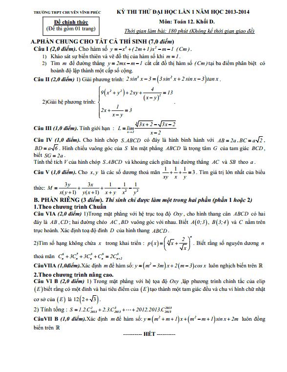 Đề thi thử Toán 2014 khối D  lần thứ nhất Vĩnh Phúc (có đáp án)