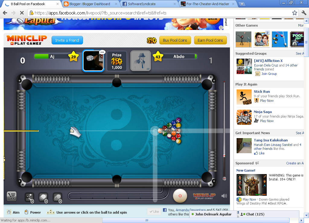 8 ball pool instant win cheat engine