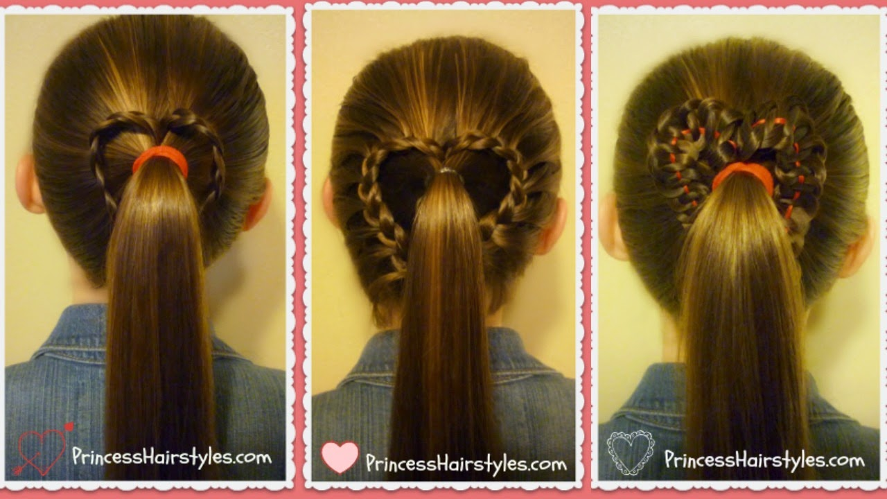 3 heart ponytail hairstyles for valentine's day, video tutorial