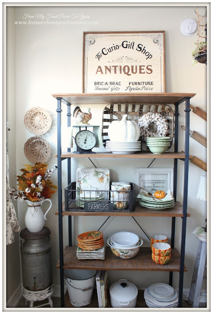 Bakers Rack- Pumpkin Dishes-Farmhouse Style- Fall Kitchen-From My Front Porch To Yours