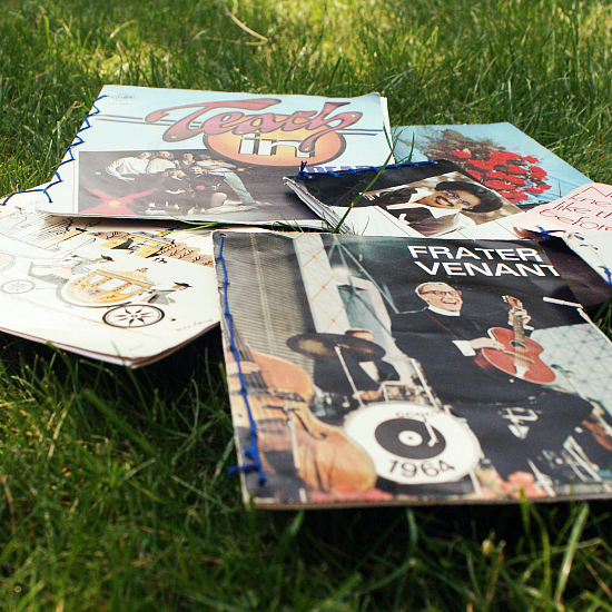 Vinyl Record Book Cover Diy : Diy vinyl record sleeves note books submarines and