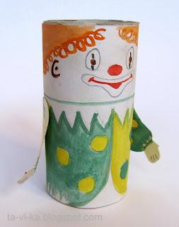 клоун из рулончика от туалетной бумаги. детская поделка