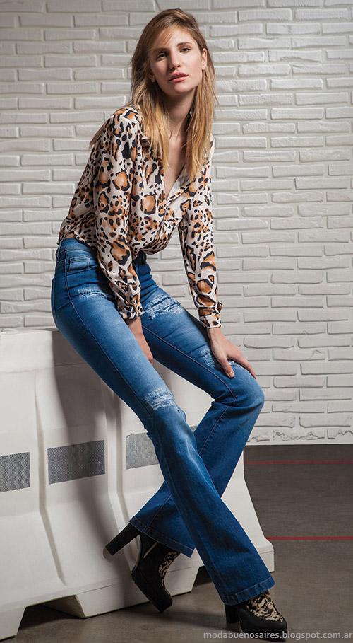 Moda otoño invierno 2015 Square blusas y pantalones oxford.