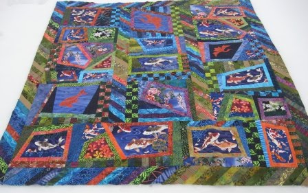 Cathy tomm quilts fish pond quilt top done for Koi pond quilt pattern