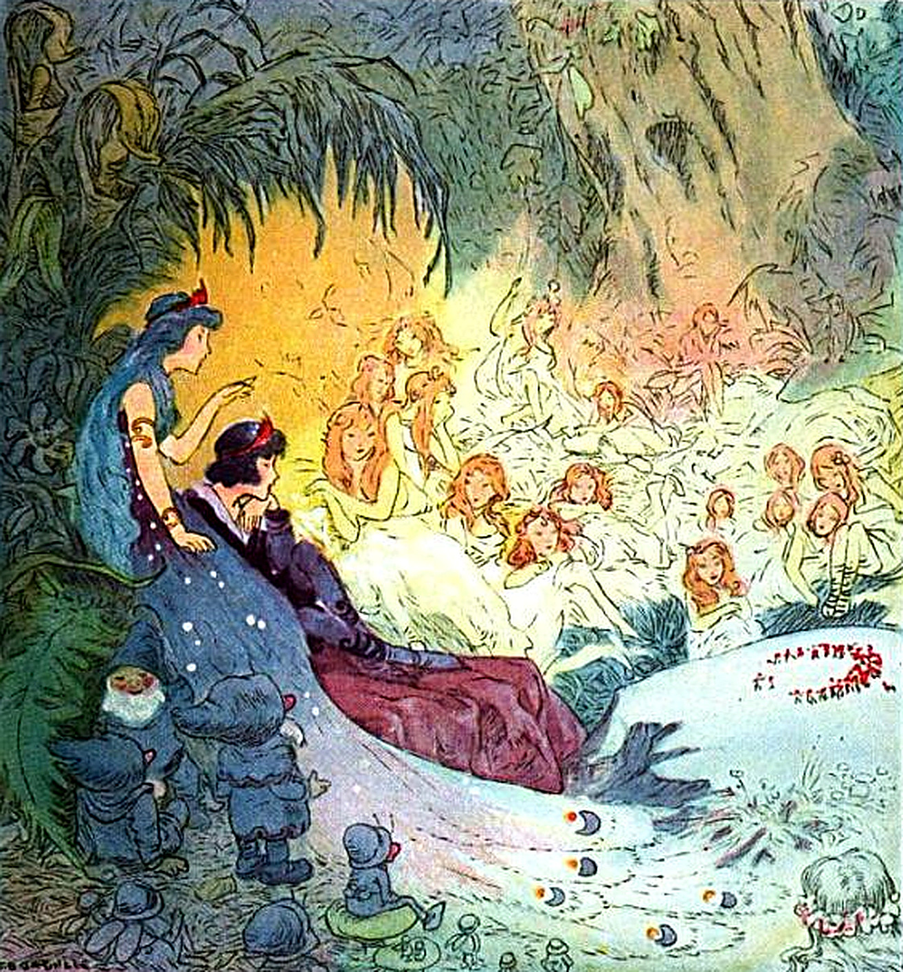 Snow White with Dwarfs and Fairies