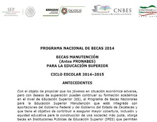 Convocatoria solicitud becas Manutención antes PRONABES 2014-2015, requisitos inscripción al programa de becas Manutención México