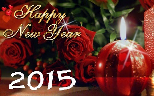 Happy New Year 2015 Wallpaper with Red Roses