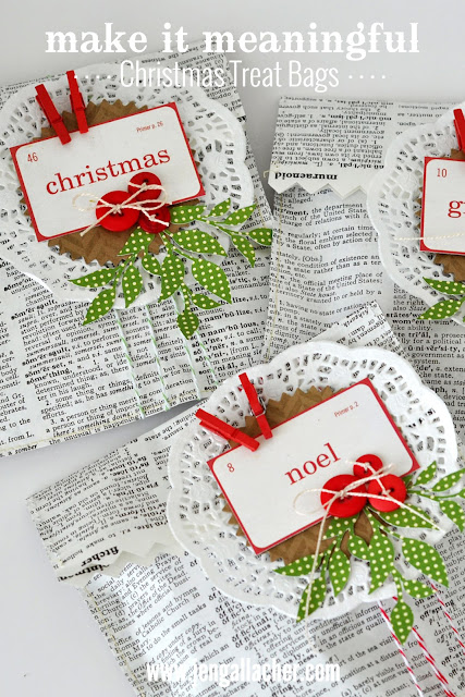 Vintage dictionary paper #christmas gift bags by Jen Gallacher for www.jengallacher.com.