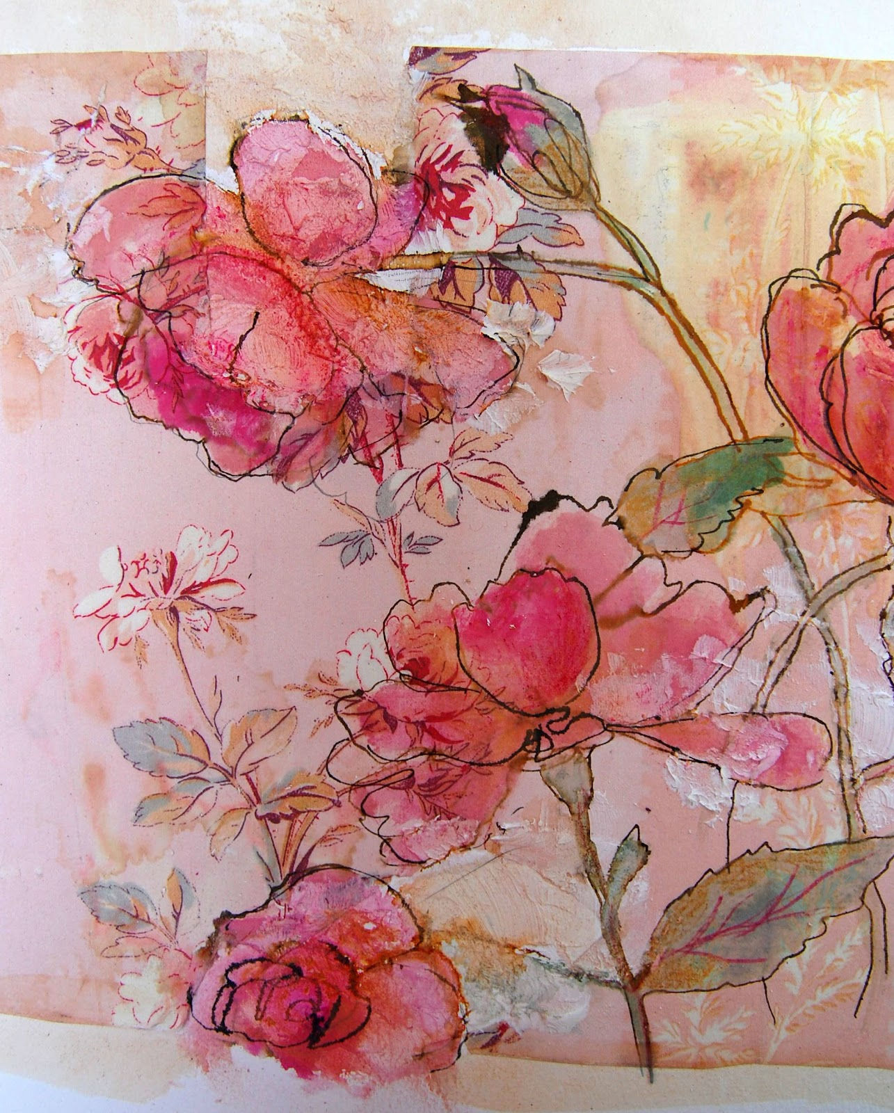 Line Art Watercolor : Thread and thrift more blooms