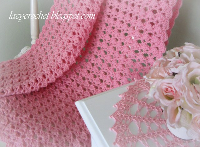 Lacy Crochet Lovely Shells Baby Blanket