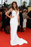 Cindy Crawford  glamorous in a white gown