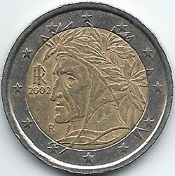Moneda italiana de dos euros con Dante