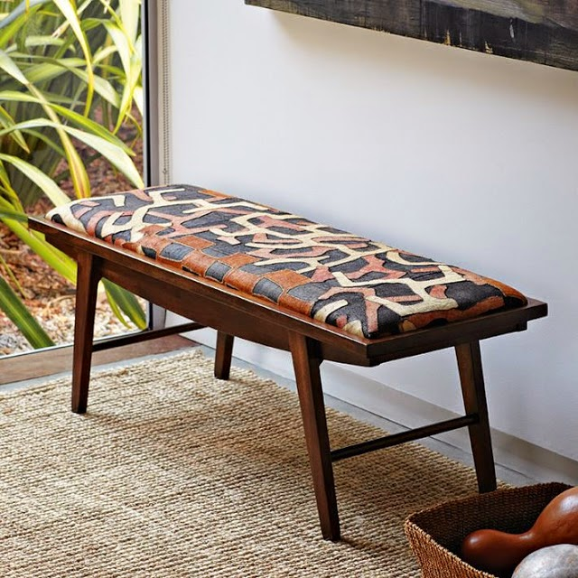 Delightful ... But One Does See It Used On Seating And Chairs. The First Photo Below  Shows A Bench Upholstered In Kuba Cloth From West Elm (now Discontinued).