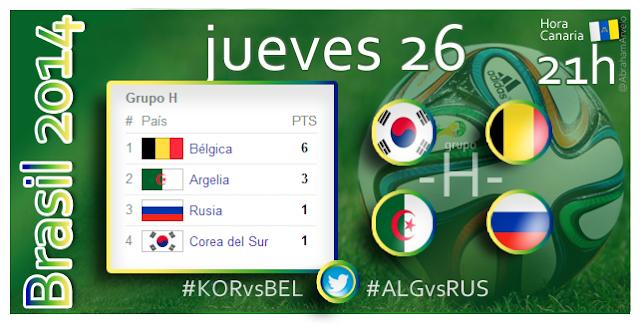 República de Corea - Bélgica (21.00h) Argelia - Rusia (21.00h) #Mundial2014 #Canarias
