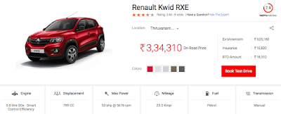 Kwid mid segment model price at TVM - thanks -carandbike.com ndtv.com