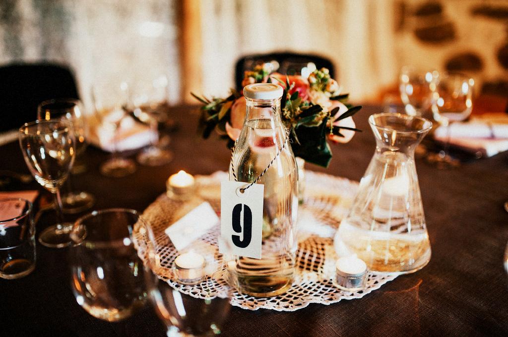 Dukning för bröllop detalj bordsplacering