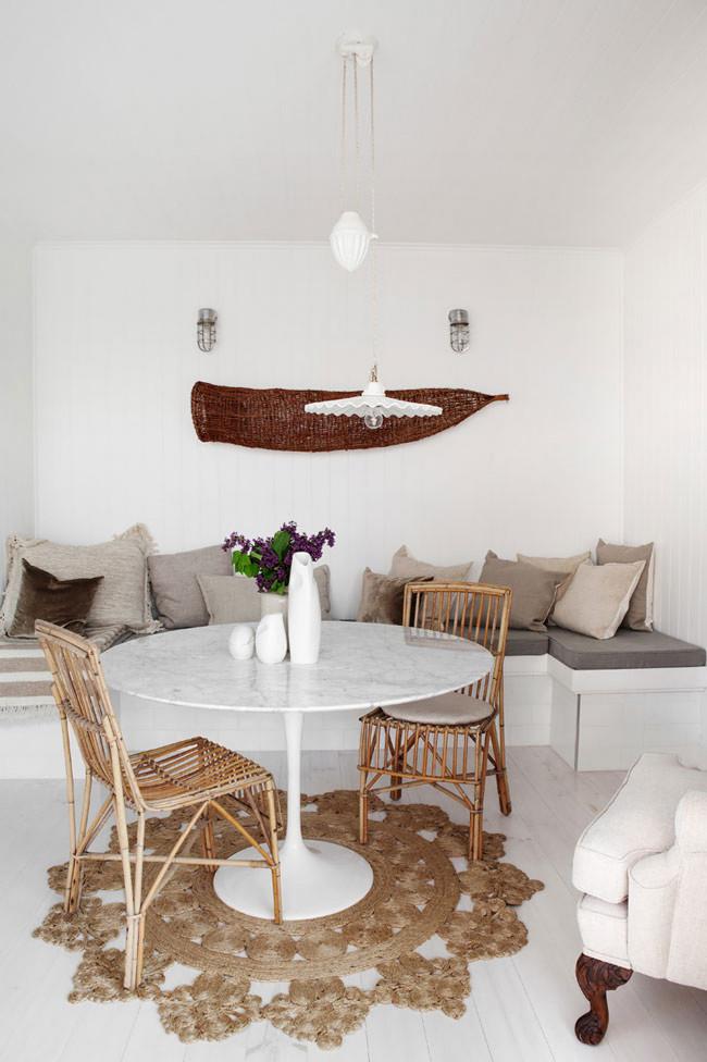 Decoración con blanco y madera