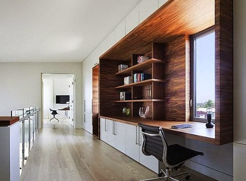 contemporary bay house with home office room