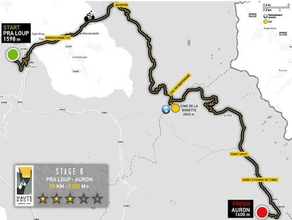 carte de l'étape 6 de la haute route
