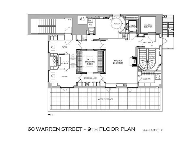 Floor plan of ninth floor in the Tribeca penthouse