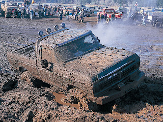 Old Chevy truck mudding 4-wheel-drive four wheeling