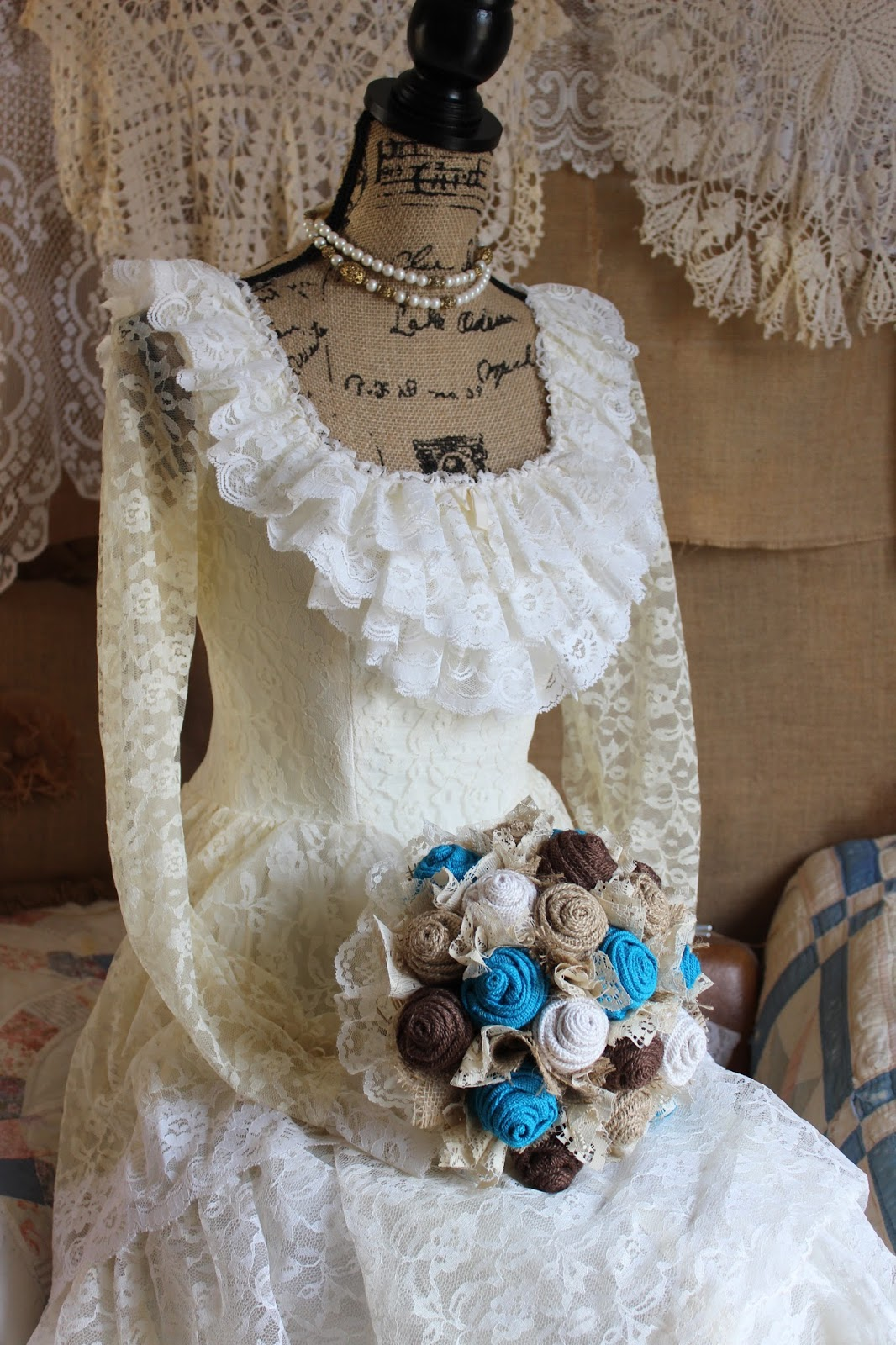 burlap and lace wedding bouquet with turquoise