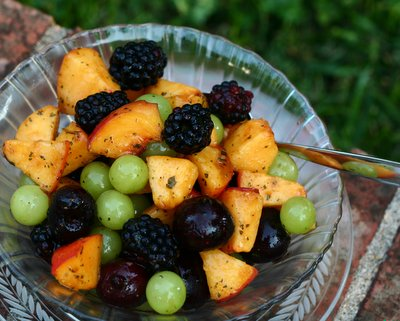 Summer Fruit Salad @ KitchenParade.com, just summer fruits sweetened with mint sugar. Vegan. Gluten Free.