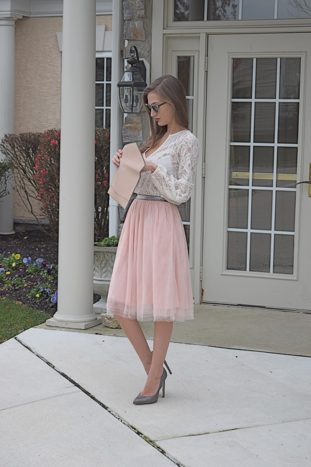 Wearing xhilaration blush tulle skirt, lace peasant top, Rebecca Minkoff Blush Leo Clutch