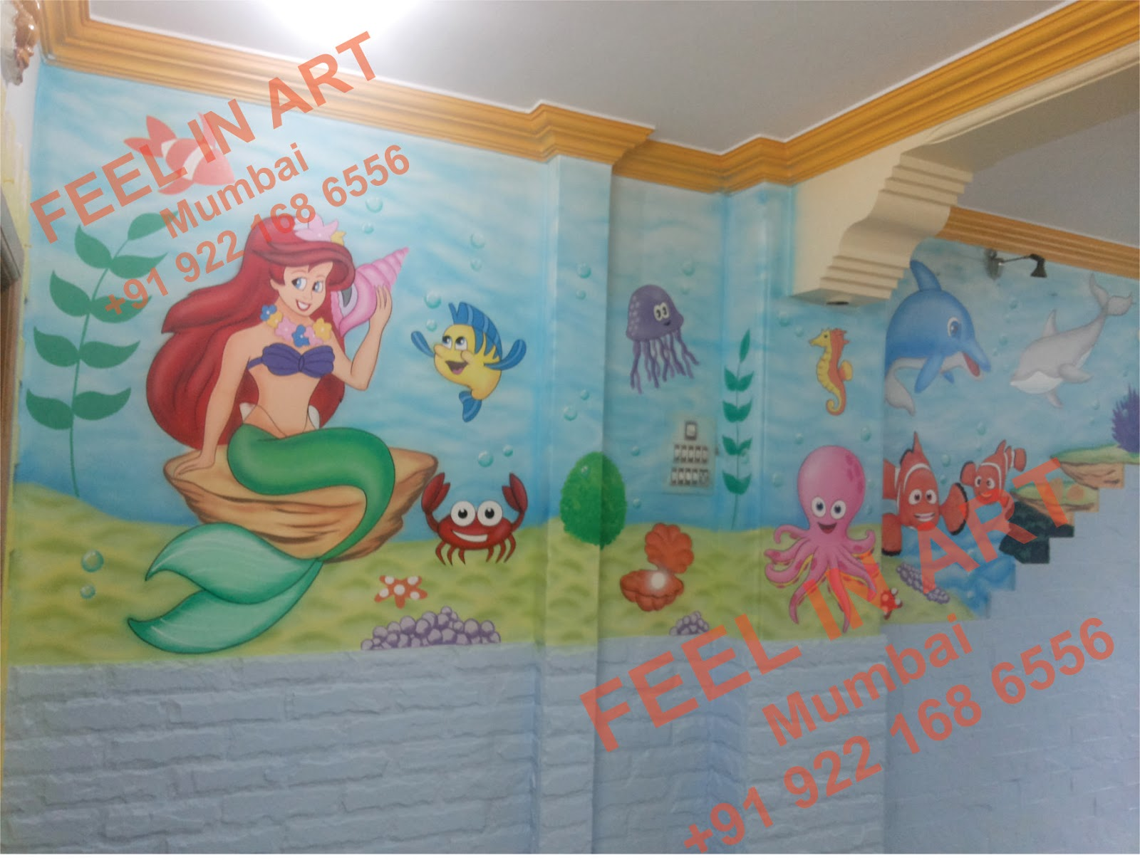 Play school wall painting pre school classroom for Classroom wall mural