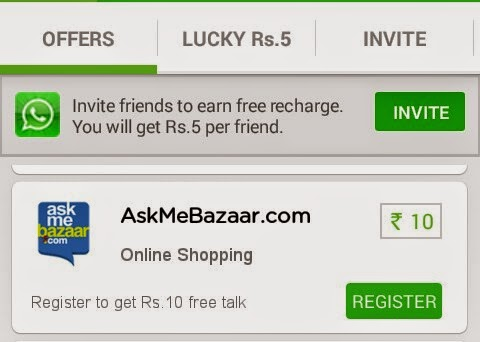 Register at AskMeBazaar.com and Get Rs 10 Free Talktime - Free Plus App
