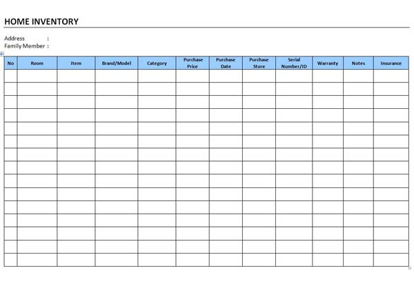 office equipment inventory list